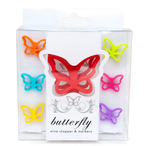 Butterfly Wine Glass Markers and Stopper