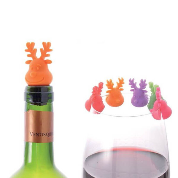 Reindeer Wine Glass Markers & Stopper