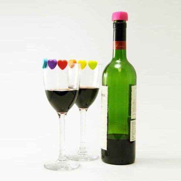 Heart Wine Glass Markers & Stopper