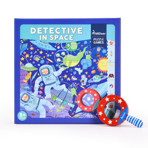 Detective Puzzle Space - With Wooden Magnifying Glass