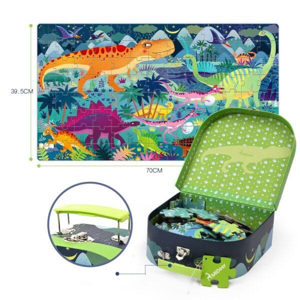 Dinosaur Age Puzzle in Suitcase - 104 PCS