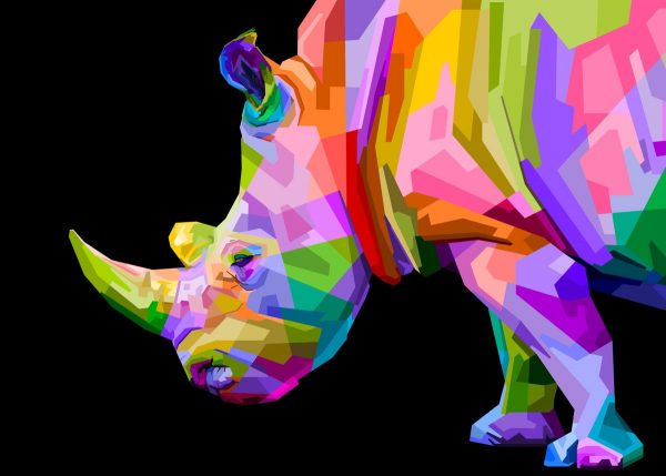 Paint By Numbers - LARGE Rhino in Colour - Limited Edition